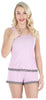 Women's Tank and Short set with lace in Pink W/ Grey Hearts
