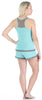 Women's Sleepwear Stretchy Knit 2-Piece Lace Trim Tank Top & Shorts Pajamas Set