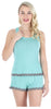 Women's Tank and Short set with lace in Teal W/ Grey Dots