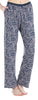 Women's Stretchy Knit Pajama Pants in Grey with Pink Leaves