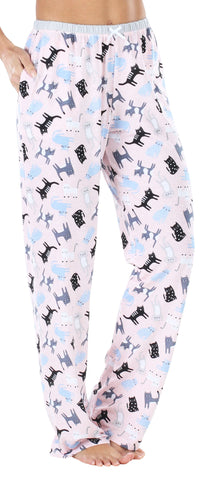 Women's Stretchy Knit Pajama Pants in Pink Cats