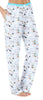 Women's Stretchy Knit Pajama Pants in White Dogs