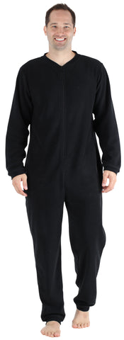 Adult Men's Footed Onesie Pajama in Black w/ Black