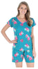 Women's Cotton V-Neck Top and Shorts Set in Floral Blue