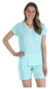 Women's Cotton Short Sleeve V-Neck Top and Shorts Pajama Set in Dandellions