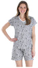 Women's Cotton Short Sleeve V-Neck Top and Shorts Pajama Set in Roses w/ Grey Background