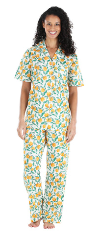 Women's Poplin Cotton Short Sleeve Button Up Top and Pants Pajama Set in Oranges