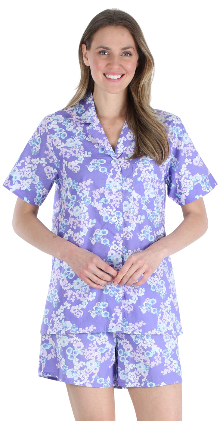 Women's Sleepwear Cotton Short Sleeve Button-Up Top and Shorts Pajama Set