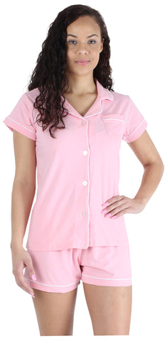 Women's Stretchy Jersey Button Up Top and Shorts Pajama Set in Blush Pink