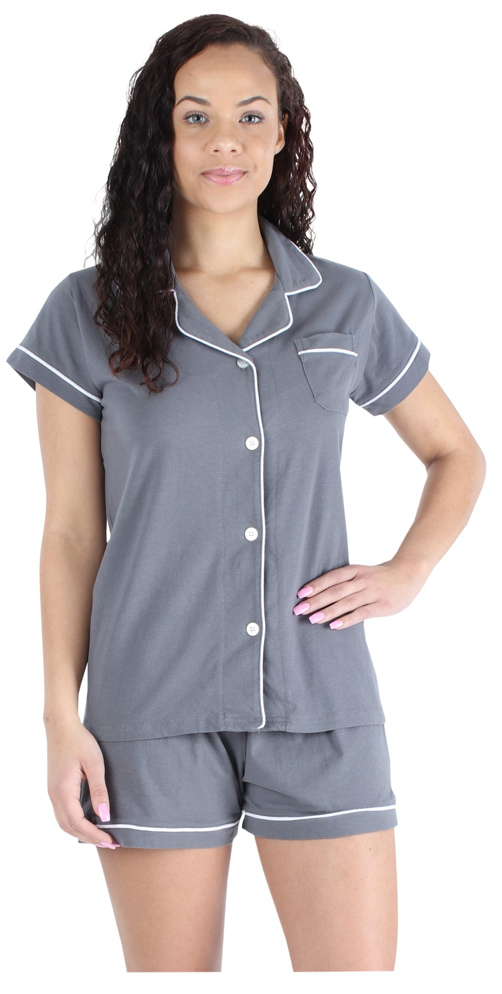 Women's Stretchy Jersey Button Up Top and Shorts Pajama Set