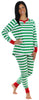Women's Festive Holiday Knit Pajama Pj Sets in Green Stripes