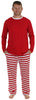 Men's Festive Holiday Knit Pajama Pj Sets in Red Stripe Solid Top
