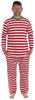 Men's Festive Holiday Knit Pajama Pj Sets in Red Stripes