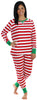 Women's Festive Holiday Knit Pajama Pj Sets in Red Stripes
