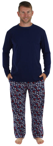 Men's Festive Holiday Knit Pajama Pj Sets in Snowflake