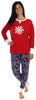 Women's Festive Holiday Knit Pajama Pj Sets in Snowflake