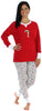 Women's Festive Holiday Knit Pajama Pj Sets in Candy Cane