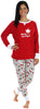 Women's Festive Holiday Knit Pajama Pj Sets in Santa