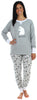Women's Festive Holiday Knit Pajama Pj Sets in Grey Polar Bear