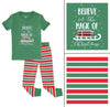 Christmas Short Sleeve Family Matching Pajamas Green Striped Pajama Sets