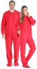 SleepytimePjs Adult Fleece Solid Red Footed Onesie Pajamas Jumpsuit