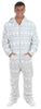 Men's Fleece Hooded Footed Onesie Pajamas in Grey Snowflake