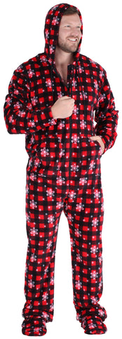 Men's Fleece Hooded Footed Onesie Pajamas in Red Plaid Snowflake