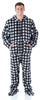 Men's Fleece Hooded Footed Onesie Pajamas in Grey Buffalo Plaid