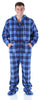 Men's Fleece Hooded Footed Onesie Pajamas in Blue Plaid
