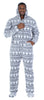 Men's Fleece Hooded Footed Onesie Pajamas in Grey Snowflakes