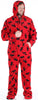 Men's Fleece Hooded Footed Onesie Pajamas in Red & Black Moose