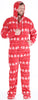 Men's Fleece Hooded Footed Onesie Pajamas in Deer Fair Isle