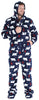 Men's Fleece Hooded Footed Onesie Pajamas in Navy Bear