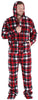 Men's Fleece Hooded Footed Onesie Pajamas in Red Black Plaid