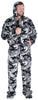 Men's Fleece Hooded Footed Onesie Pajamas in Grey Camo