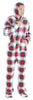 Men's Fleece Hooded Footed Onesie Pajamas in Red & Green Plaid