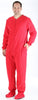 Adult Fleece Solid Red Footed Onesie Pajamas Jumpsuit