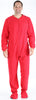 Men's Fleece Hooded Footed Onesie Pajamas in Solid Red