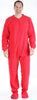 Adult Fleece Solid Red Footed Onesie Pajamas Jumpsuit in Men's - Solid Red