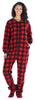 Adult Fleece Solid Red Footed Onesie Pajamas Jumpsuit in Women's - Red Plaid