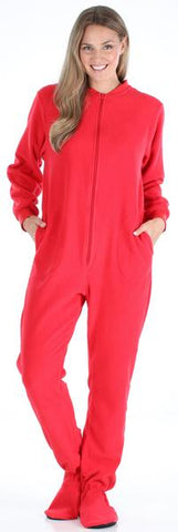 Adult Fleece Solid Red Footed Onesie Pajamas Jumpsuit in Women's - Solid Red