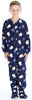 Kid's Fleece Onesie PJs Footed Pajama in Navy Blue Penguin