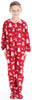 Kid's Fleece Onesie PJs Footed Pajama in Cranberry Deer