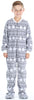 Kid's Fleece Onesie PJs Footed Pajama in Grey Snowflakes