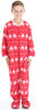 Kid's Fleece Onesie PJs Footed Pajama in Red Snowflake