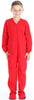 Kid's Fleece Onesie PJs Footed Pajama in Solid Red