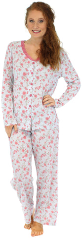 Sleepyheads Women's Cotton Long Sleeve & Pant in Blue Roses