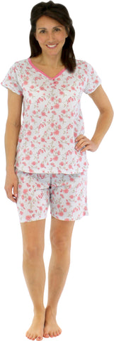 Women's Cotton V-Neck Top with Shorts Set