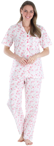 Sleepyheads Women's Poplin Short Sleeve & Pant in Sheer Pink Roses
