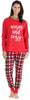 Family Matching Knit Red and Black Plaid Pajama for women